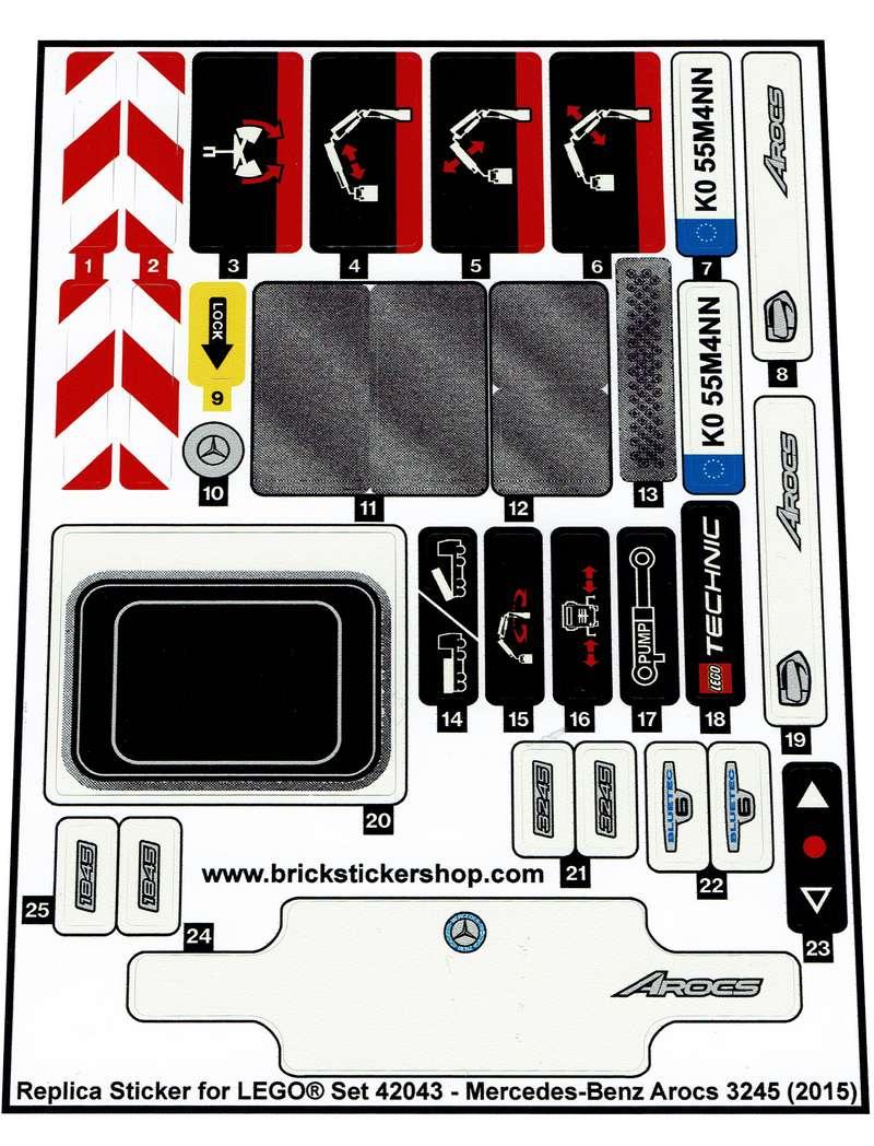 Precut Custom Replacement Stickers for Lego Set 42043 Mercedes-Benz Arocs 3245