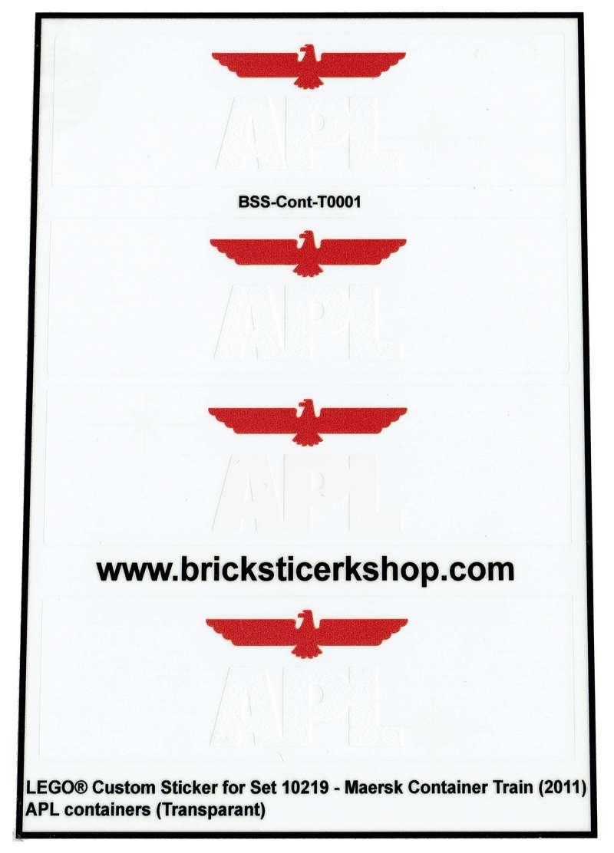 Ersatz Pre-Cut Aufkleber//Sticker Set für LEGO 10219 Maersk Container Train 2011