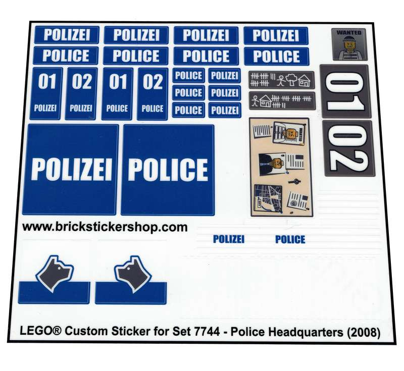 Police Headquarters Precut Custom Replacement Stickers for Lego Set 7744 2008