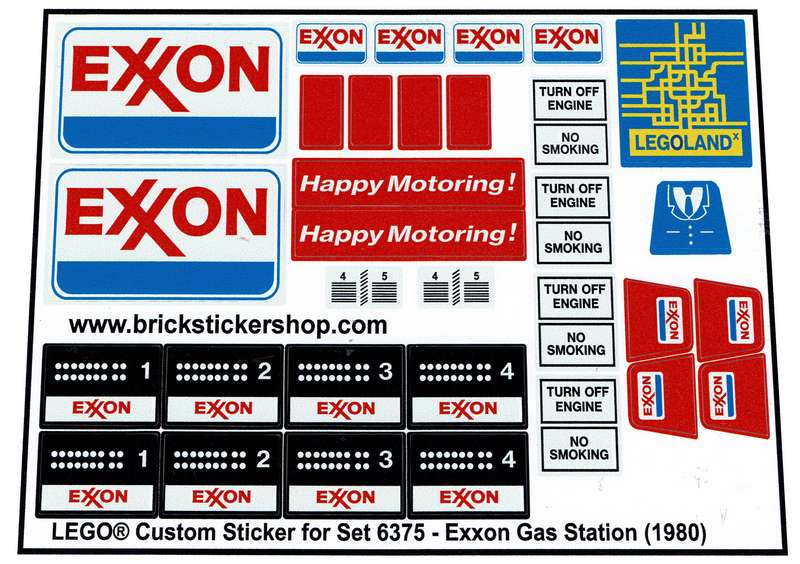 STICKERS for CUSTOM LEGO 6375 6397 7993 Exxon Service Gas Station BUILDS Etc