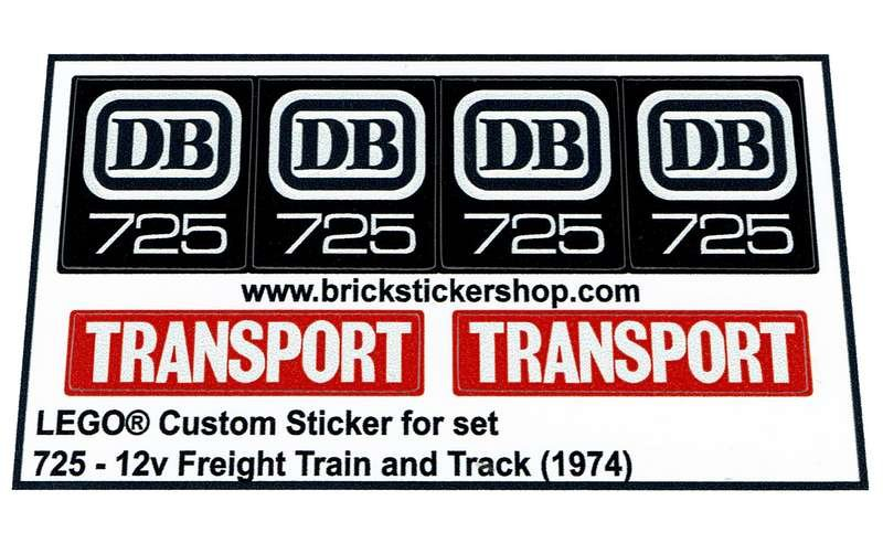 Precut Custom Replacement Stickers for Lego Set 725-12V Freight Train and Trac