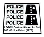 Precut-Replica-Sticker-for-Lego-Set-600-Police-Patrol-(1978)