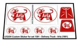 Precut-Replica-Sticker-for-Lego-Set-1581-Delivery-Truck-Arla-(1991)