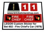Precut-Replica-Sticker-for-Lego-Set-602-Fire-Chiefs-Car-(1978)