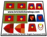 Precut Replica Sticker for Lego Set 383 - Knight's Tournament (1979)_