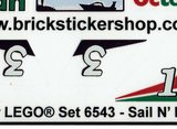 Precut Custom Replacement Stickers for Lego Set 6543 - Sail N' Fly Marina (1994)_