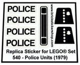 Precut Custom Replacement Stickers for Lego Set 540 - Police Units (1979)_