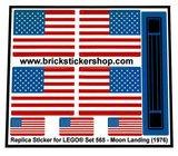 Precut Custom Replacement Stickers for Lego Set 565 - Moon Landing (1975)_