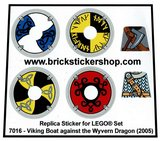 Precut Custom Replacement Stickers for Lego Set 7016 - Viking Boat against the Wyvern Dragon (2005)_