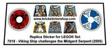 Precut Custom Replacement Stickers for Lego Set 7018 - Viking Ship challenges the Midgard Serpent (2005)_