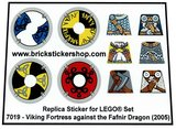 Precut Custom Replacement Stickers for Lego Set 7019 - Viking Fortress against the Fafnir Dragon (2005)_