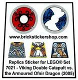 Precut Custom Replacement Stickers for Lego Set 7021 - Viking Double Catapult vs Armoured Ofnir Dragon (2005)_