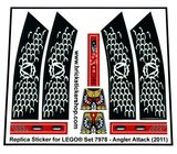 Precut Custom Replacement Stickers for Lego Set 7978 - Angler Attack (2011)_