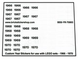 Custom Year Stickers for use with LEGO sets - 1966 - 1970_
