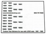 Custom Year Stickers for use with LEGO sets - 1981 - 1985_