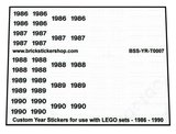 Custom Year Stickers for use with LEGO sets - 1986 - 1990_