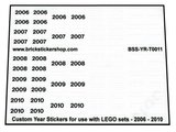 Custom Year Stickers for use with LEGO sets - 2006 - 2010_