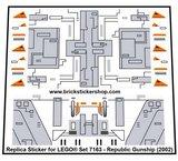Precut Custom Replacement Stickers for Lego Set 7163 - Republic Gunship (2002)_