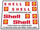 Precut Custom Replacement Stickers for Lego Set 649 - 1:87 Mercedes Tanker (Shell) (1965)_