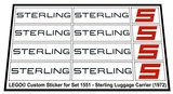 Precut Replica Sticker for Lego Set 1551 - Sterling Luggage Carrier (1972)_