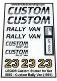 Precut Replica Sticker for Lego Set 5550 - Lego Custom Rally Van (1991)_