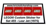 Precut Replica Sticker for Lego Set 455 - Lear Jet (1975)_