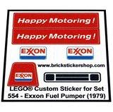 Precut Custom Replacement Stickers for Lego Set 554 - Exxon Fuel Pumper (1979)_
