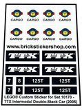 Precut Custom Replacement Stickers for Lego Set 10170 - TTX Intermodal Double-Stack Car (2005)_