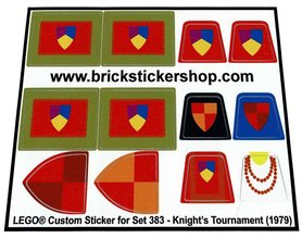 Precut Custom Replacement Stickers for Lego Set 383 - Knight's Tournament (1979)