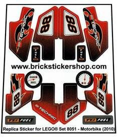 Precut Custom Replacement Stickers for Lego Set 8051 - Motorbike (2010)