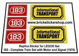 Precut Custom Replacement Stickers for Lego Set 183 - Complete Train Set with Motor and Signal (1976)