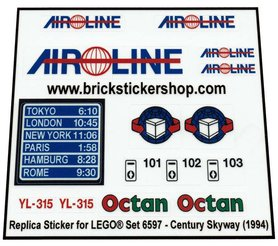 Precut Custom Replacement Stickers for Lego Set 6597 - Century Skyway (1994)
