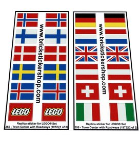 Precut Custom Replacement Stickers voor Lego Set 355 - Town Center with Roadways (1972)