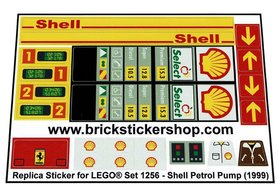 Precut Custom Replacement Stickers for Lego Set 1256 - Shell Petrol Pump (1999)