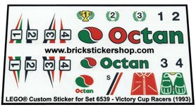 Precut Custom Replacement Stickers for Lego Set 6539 - Victory Cup Racers (1993)