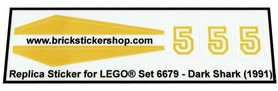 Precut Custom Replacement Stickers for Lego Set 6679 - Dark Shark (1991)