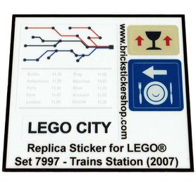 Precut Custom Replacement Stickers for Lego Set 7997 - Train Station (2007)