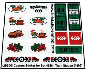 Precut Custom Replacement Stickers for Lego Set 4556 - Train Station (1999)