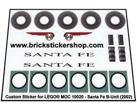 Precut Custom Replacement Stickers for Lego Set 10020 - Sante Fe Super Chief ( B-Unit)