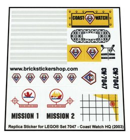 Precut Custom Replacement Stickers for Lego Set 7047 - Coast Watch HQ (2003)