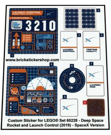 Precut Custom Stickers for Lego Set 60228 - Deep Space Rocket and Launch Control (2019) - SpaceX version