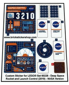 Precut Custom Stickers for Lego Set 60228 - Deep Space Rocket and Launch Control (2019) - NASA version