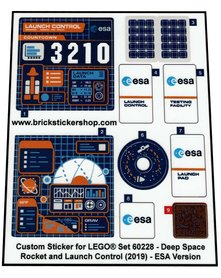 Precut Custom Stickers for Lego Set 60228 - Deep Space Rocket and Launch Control (2019) - ESA version
