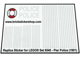 Precut Custom Replacement Stickers for Lego Set 6540 - Pier Police (1991)