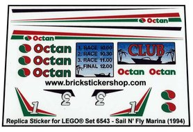 Precut Custom Replacement Stickers for Lego Set 6543 - Sail N' Fly Marina (1994)