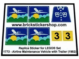 Precut Custom Replacement Stickers for Lego Set 1773 - Airline Maintenance Vehicle with Trailer (1992)