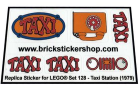 Precut Custom Replacement Stickers for Lego Set 128 - Taxi Station (1979)