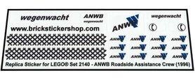 Precut Custom Replacement Stickers voor Lego Set 2140 - ANWB Roadside Assistance Crew (1996)
