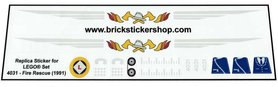 Precut Custom Replacement Stickers for Lego Set 4031 - Fire Rescue (1991)