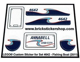 Precut Custom Replacement Stickers for Lego Set 4642 - Fishing Boat (2011)